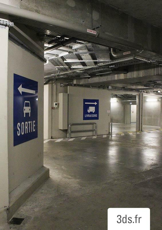 Signalétique Parking Livraison Sortie Publicis