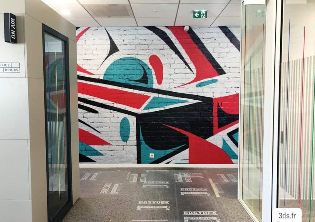 Impression numérique adhésif mur décoration bureau