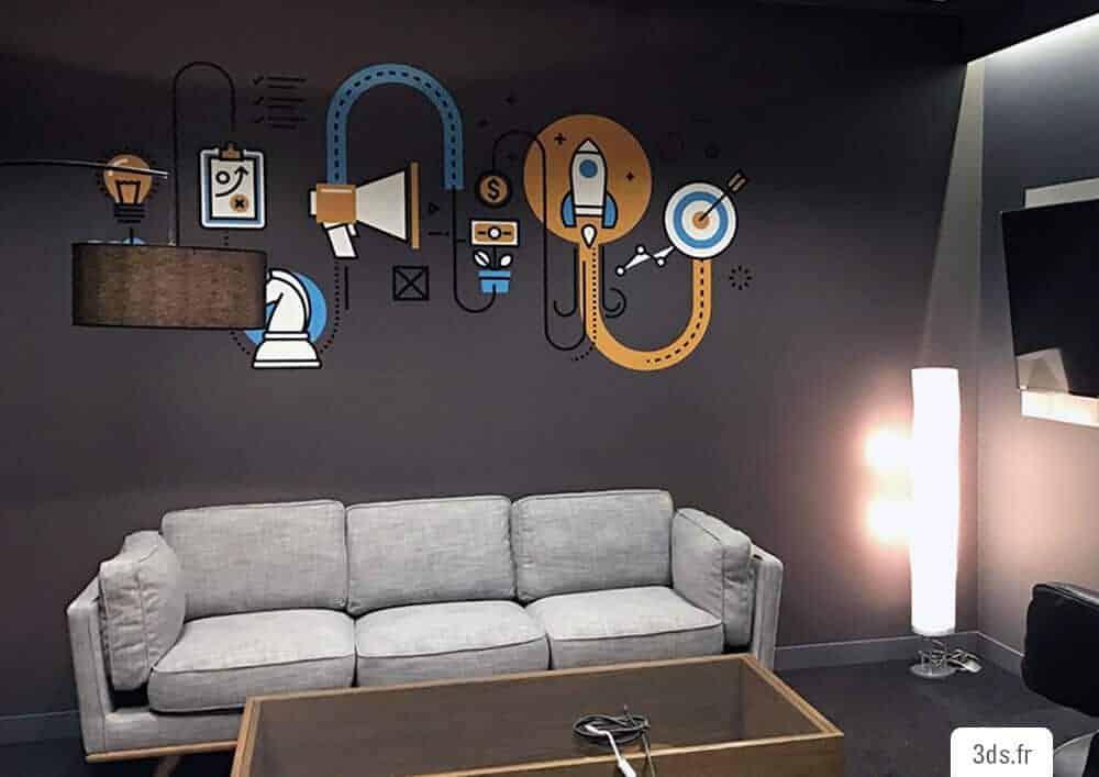 Décoration Murale Bureau Entreprise Visuel Graphique Adhésif