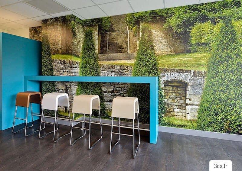 Visuel mural imprimé cafétéria bureau sur mesure