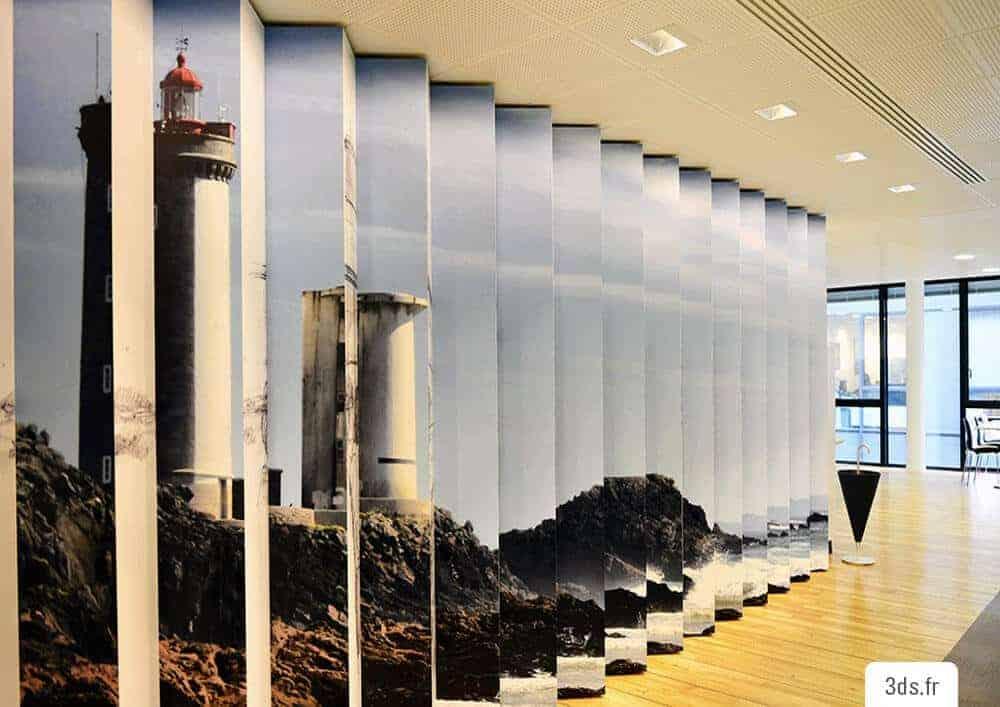 Visuel mur original trompe l'oeil imprimé bureau
