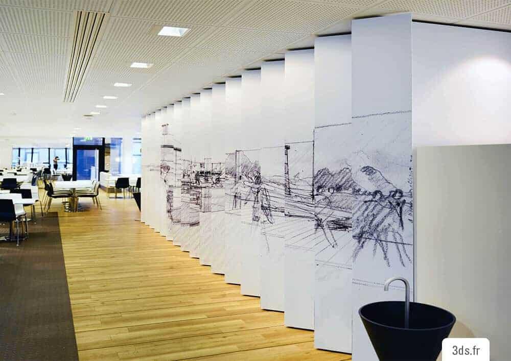 Visuel mur design trompe l'oeil imprimé entreprise