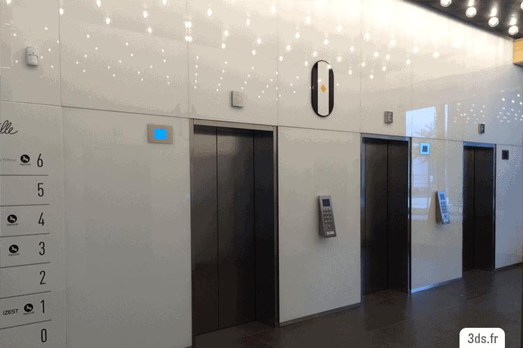 Signalétique intérieure étage design Numéro Design Ascenseurs
