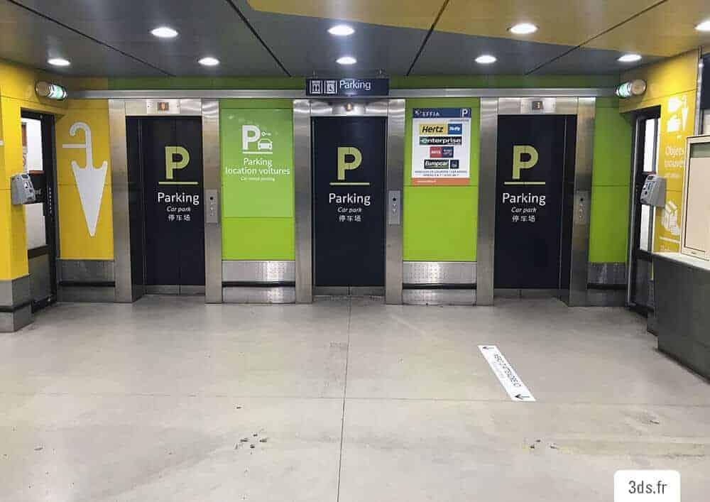 Signalétique parking ascenseur marquage adhésif sur mesure