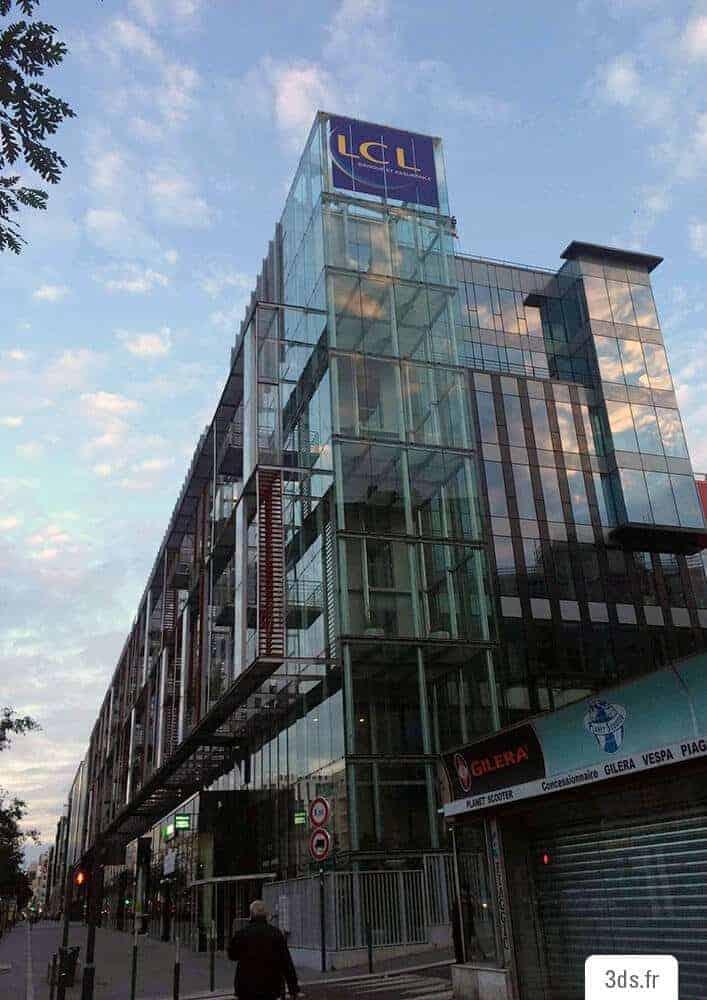 Enseigne extérieure adhésif imprimé façade bâtiment bureau