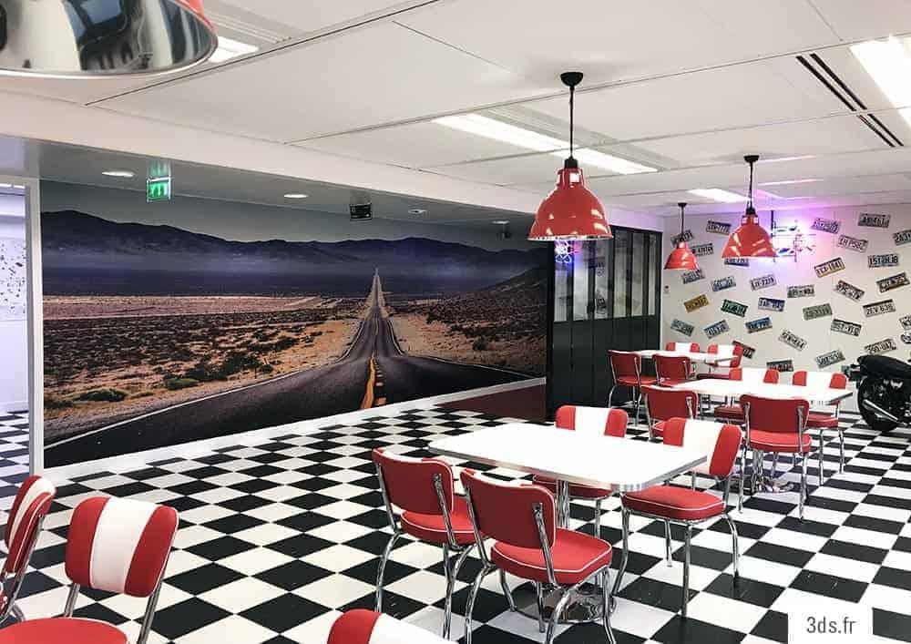 visuel mural adhésif décoration restaurant imprimé