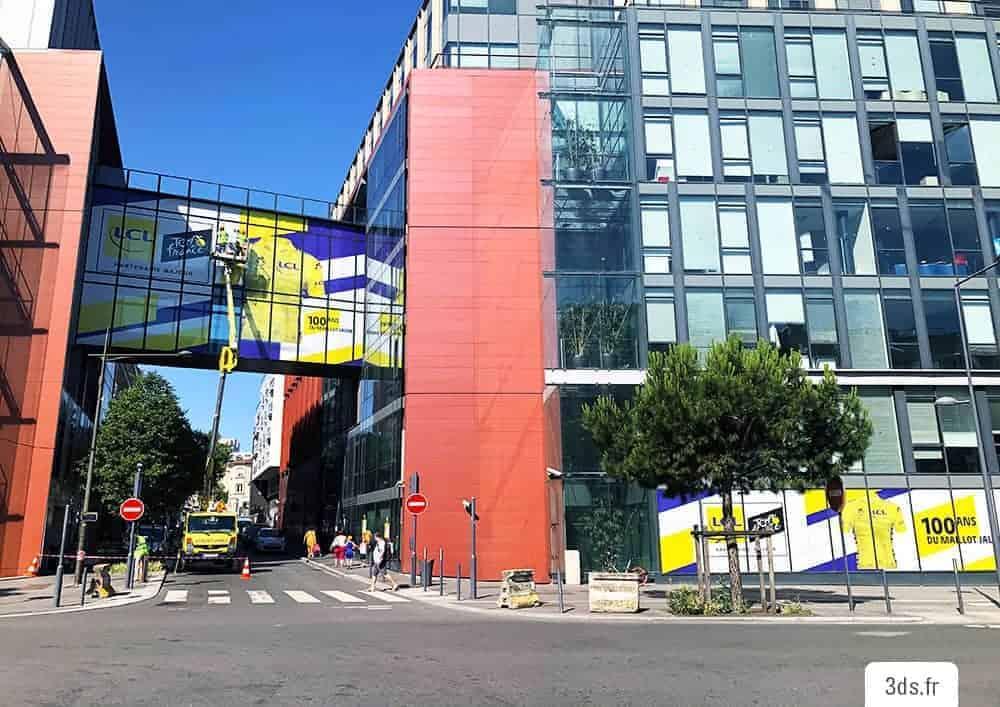 Vitrophanie microperforé facade immeuble nacelle