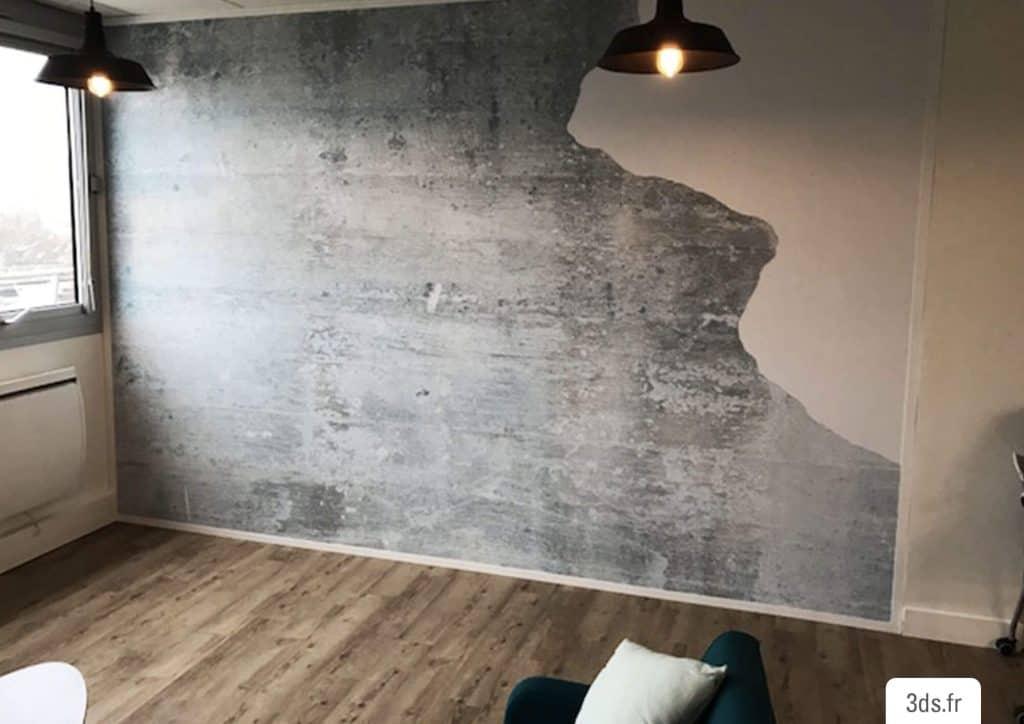 Visuel adhésif imprimé trompe l'oeil mur