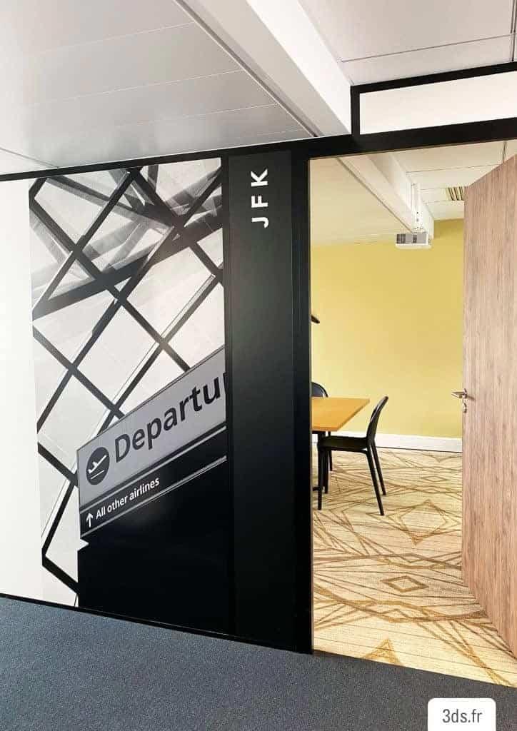 Visuel imprimé adhésif cloison bureau
