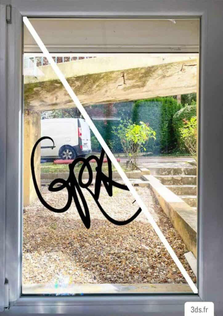 Différence film antigraffiti et verre clair
