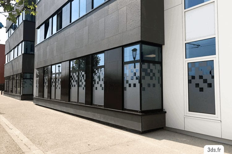 Vitrophanie depoli facade entreprise sur mesure
