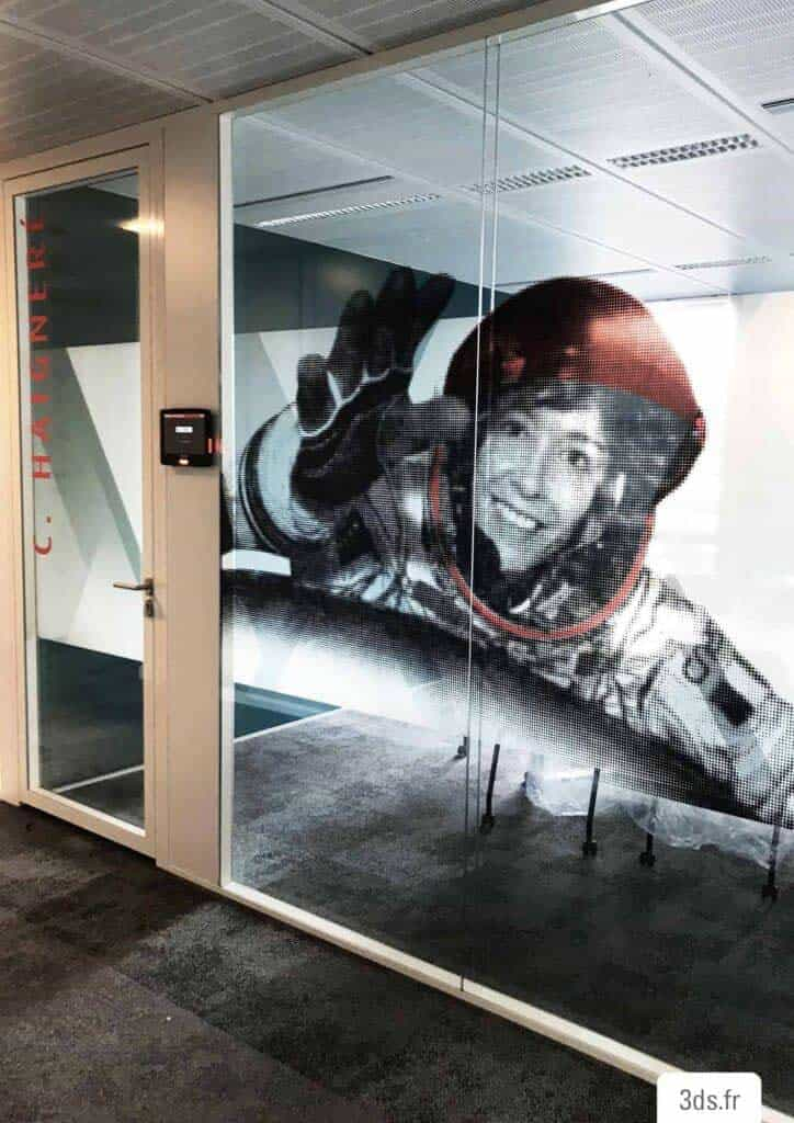 Vitrophanie décorative figurative entreprise bureau