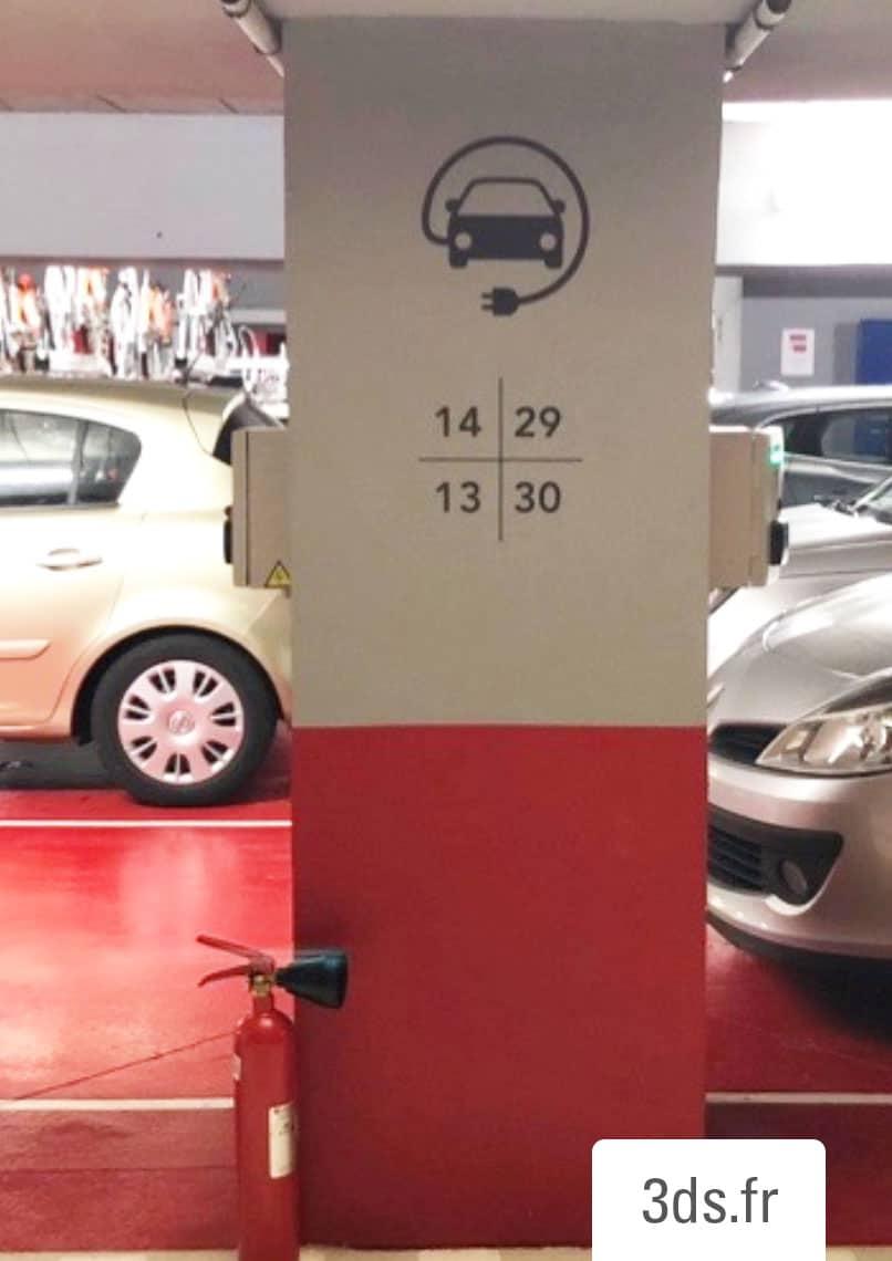 Signalétique parking véhicule électrique borne chargement