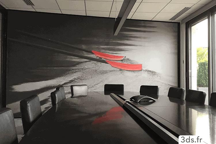 Toile encollé visuel mur salle de réunion