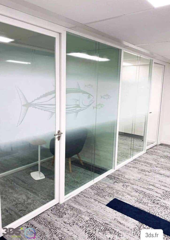 vitrophanie design dégradé illustration poisson marin