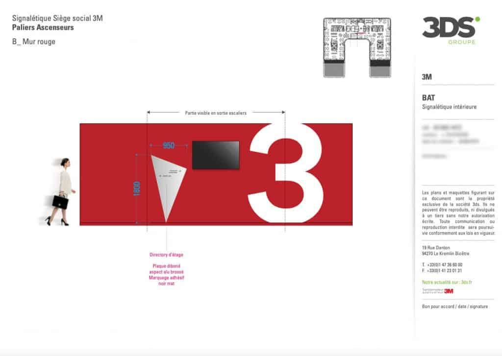 Conception Graphique Réalisation Signalétique Étage Entreprise 3M